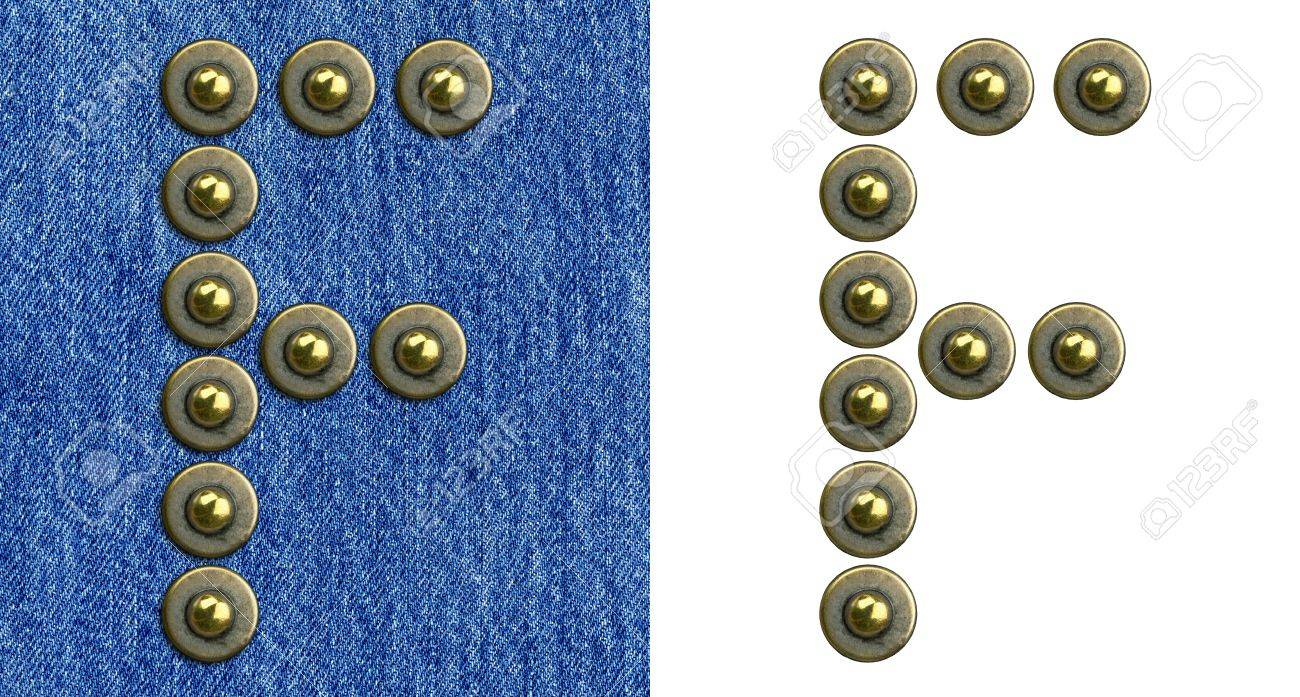 Jeans rivet alphabet letter F. On jeans background and isolated. Stock Photo - 8641611