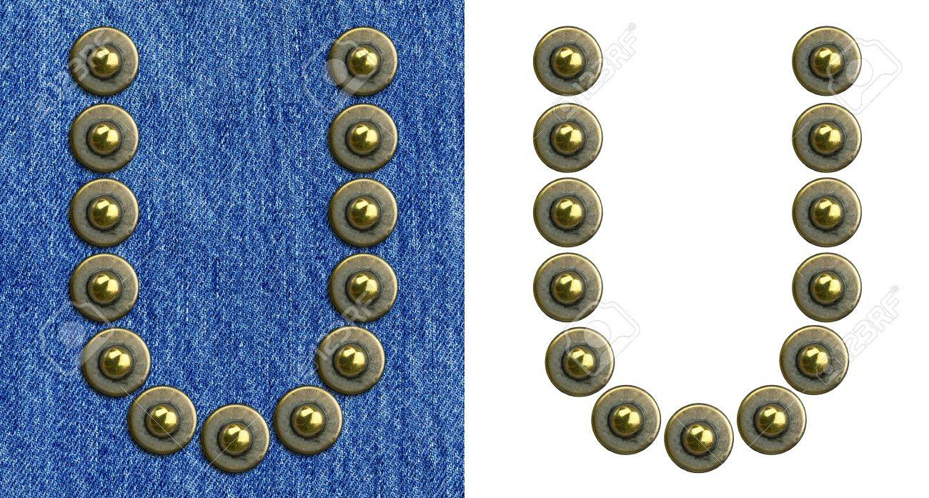 Jeans rivet alphabet letter U. On jeans background and isolated. Stock Photo - 8641620