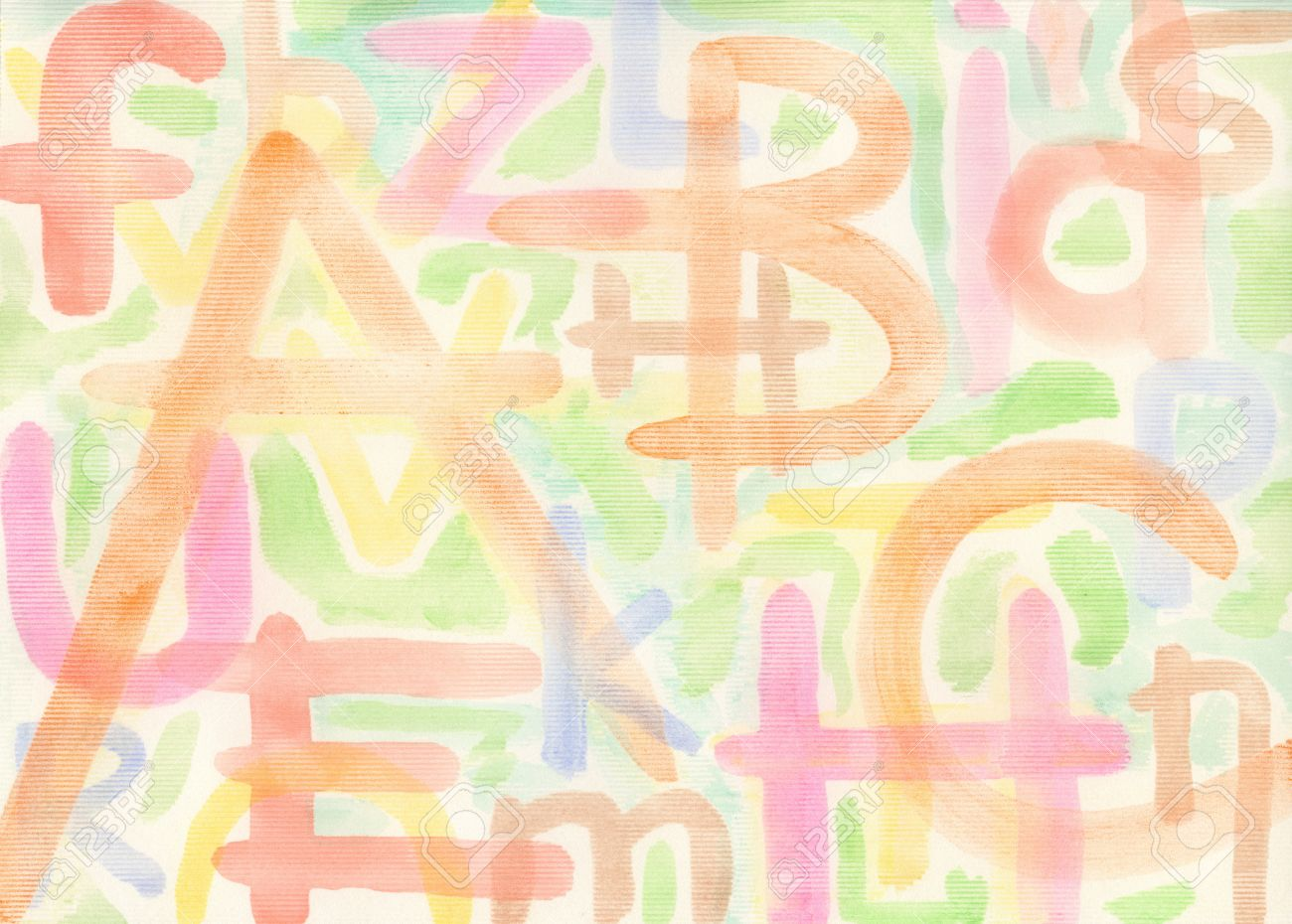 abstract yellow watercolor hand painted artistic background with letters made myself stock photo