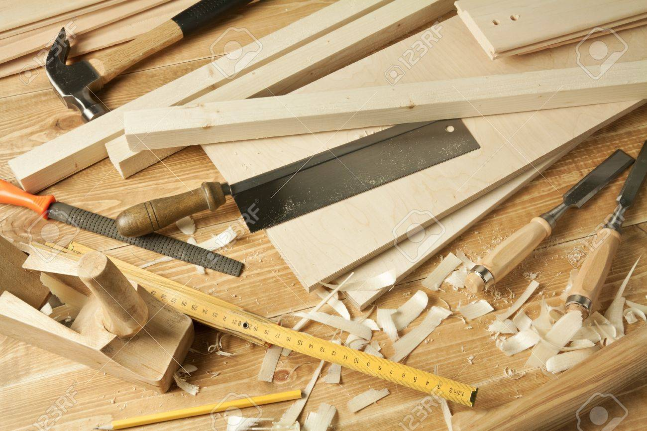 Wooden Workshop Table With Tools Stock Photo Picture And Royalty