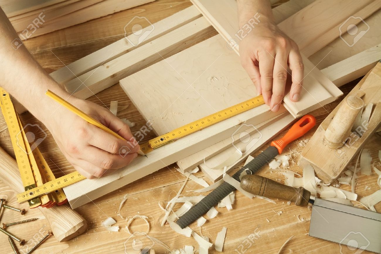 Wooden Workshop Table With Tools Man S Arms Measuring Stock Photo