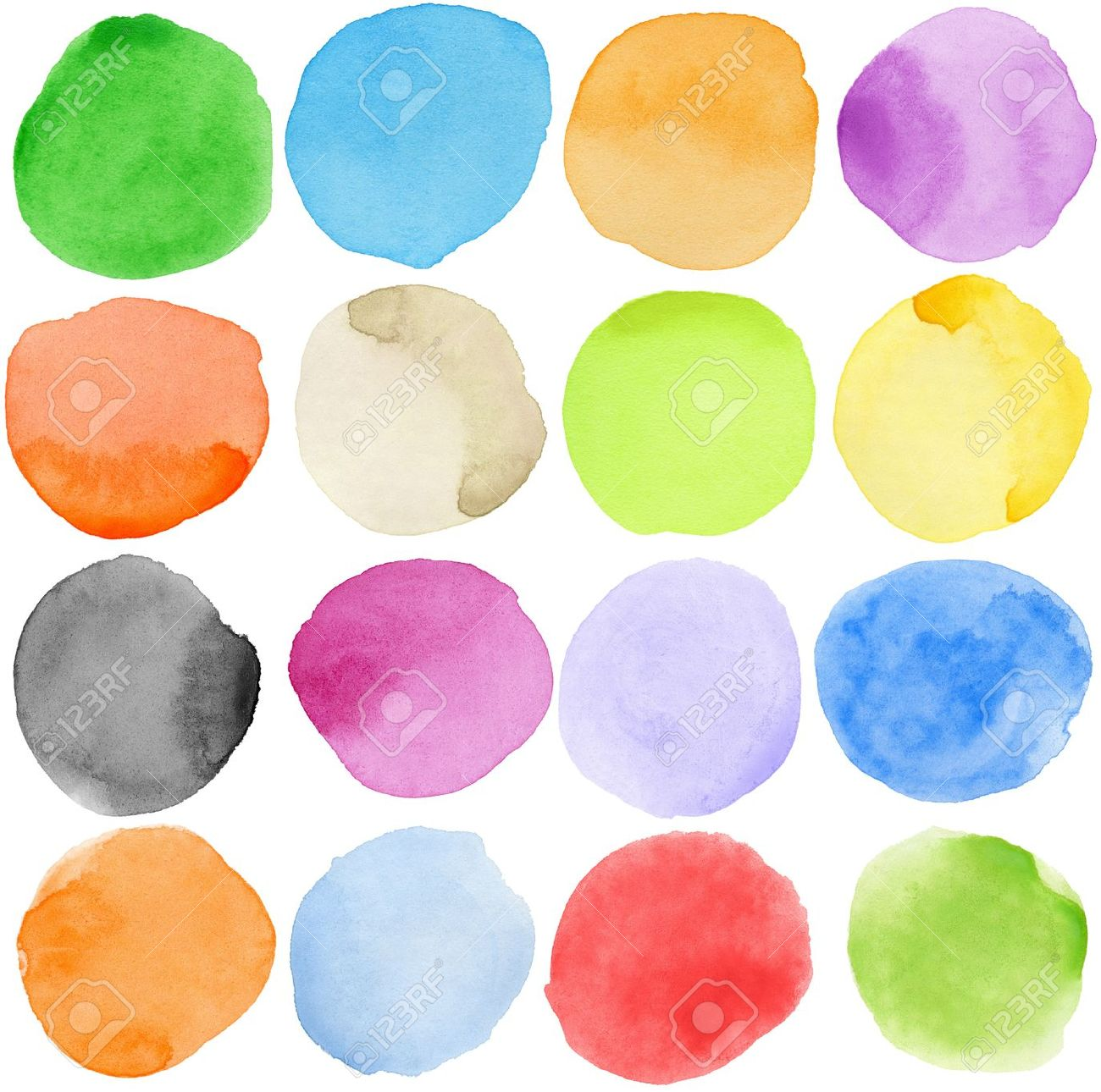 Watercolor hand painted circle shape design elements Stock Photo - 9904432