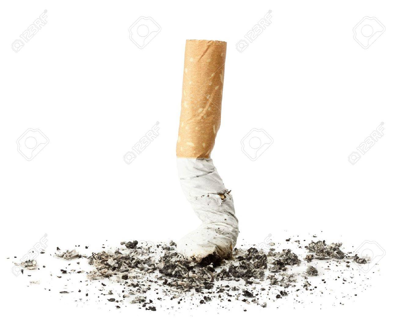 Cigarette butt with ash, isolated Stock Photo - 10498697