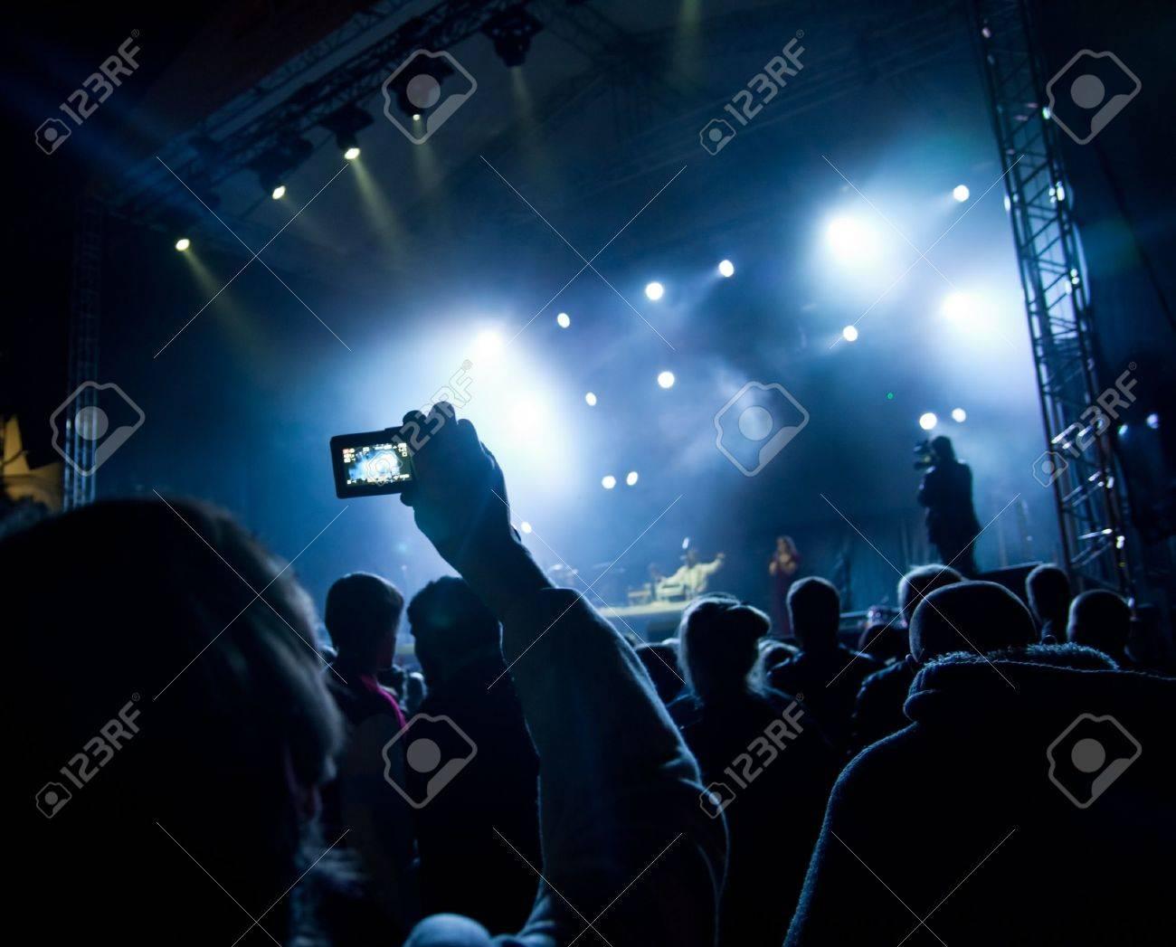 Empty outdoor rock stage - Outdoor Concert Stage People Watching Open Air Concert Stock Photo