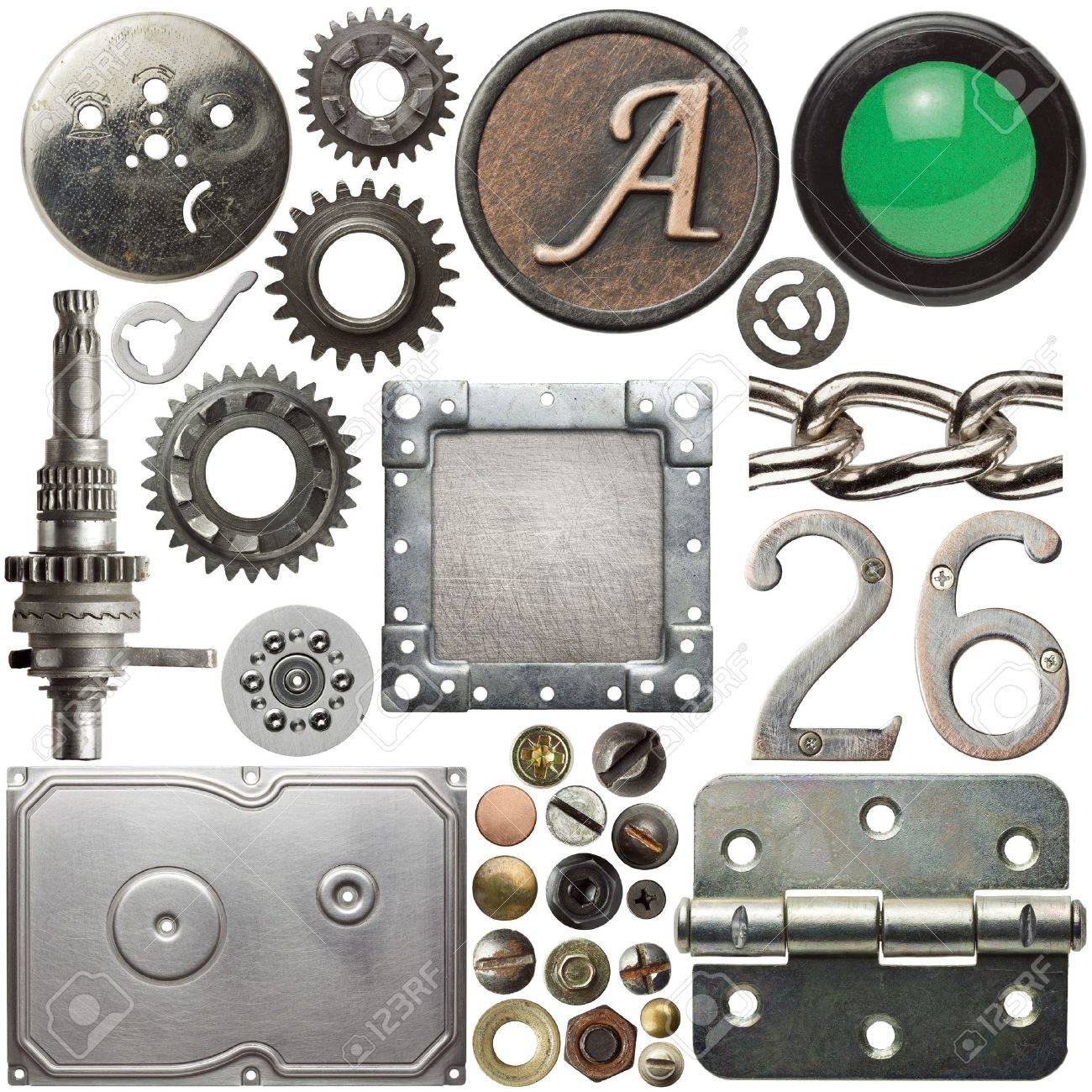 Screw heads, cogs, frames and other metal details Stock Photo - 11312192