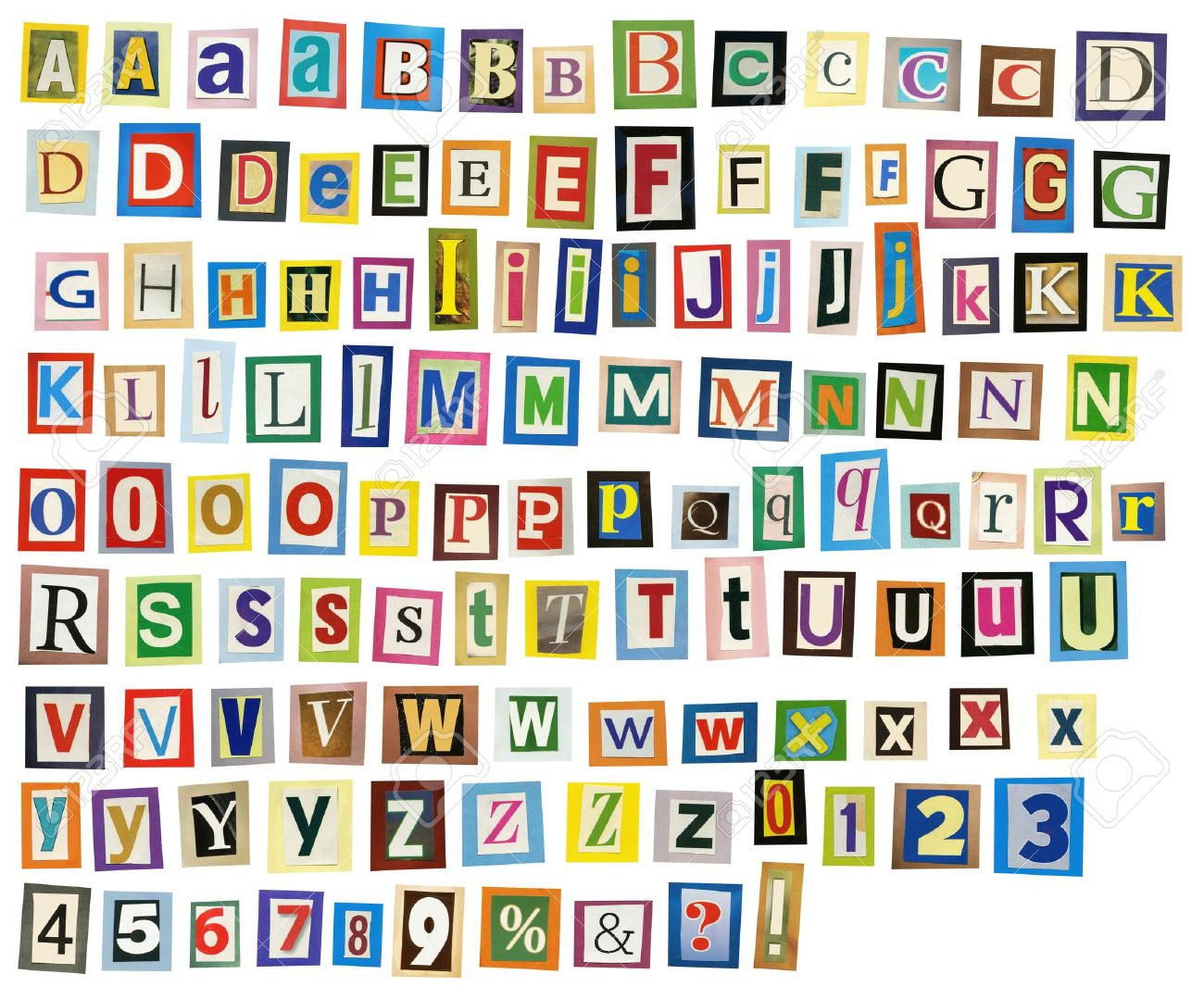 Newspaper, Magazine Alphabet With Letters, Numbers. Stock Photo ...