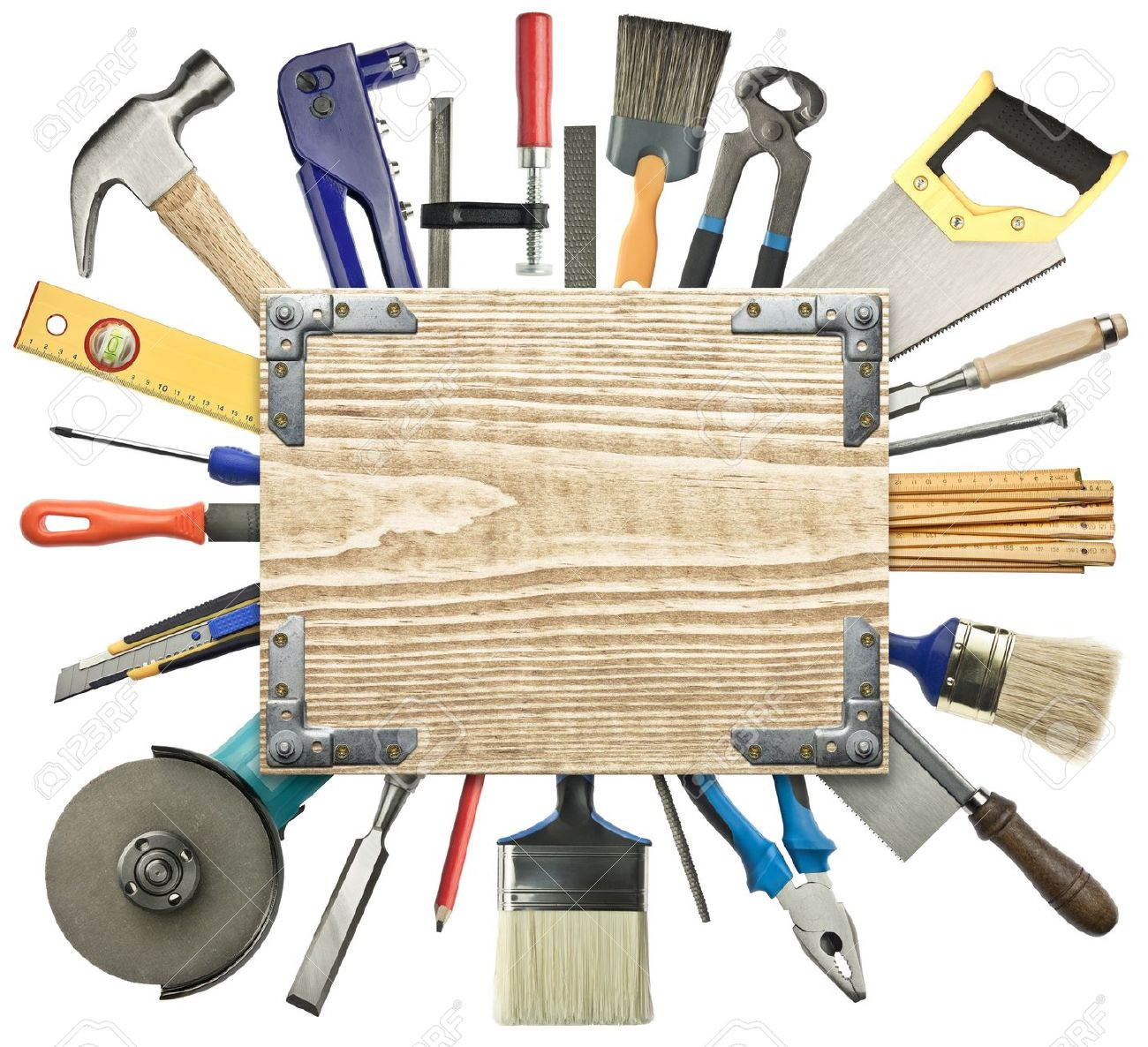 Carpentry, construction background. Tools underneath the wood plank. Stock Photo - 12455431