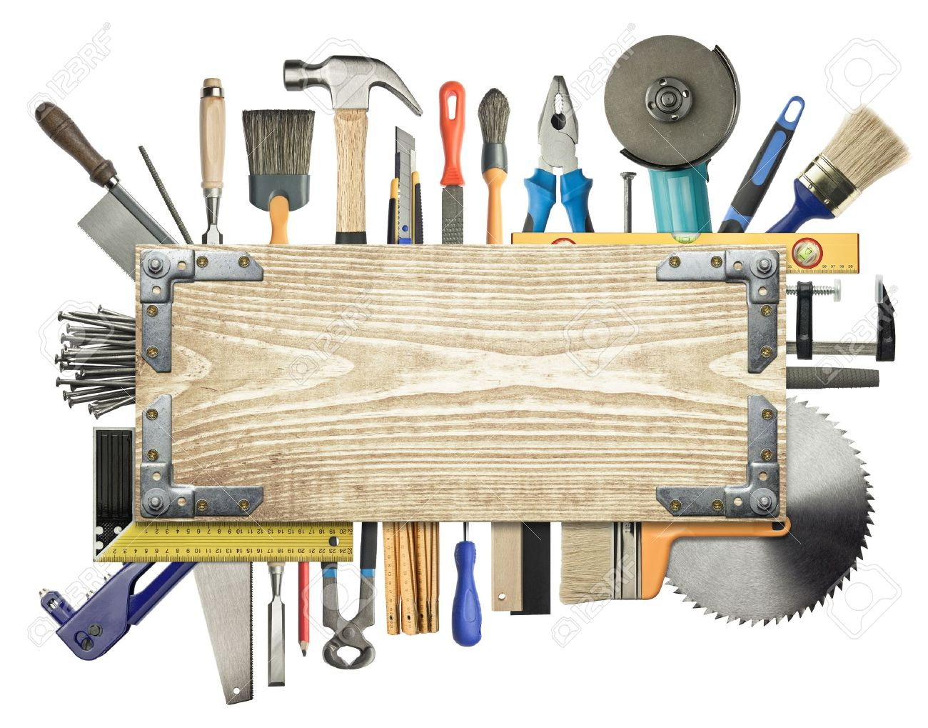Carpentry, construction background. Tools underneath the wood plank. Stock Photo - 12781860