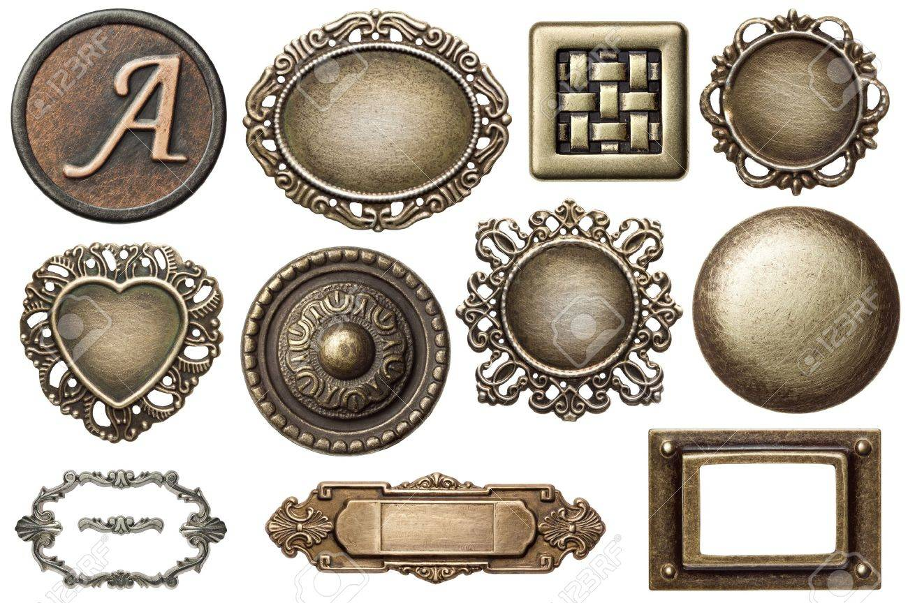 vintage metal frames buttons isolated stock photo - Metal Picture Frames