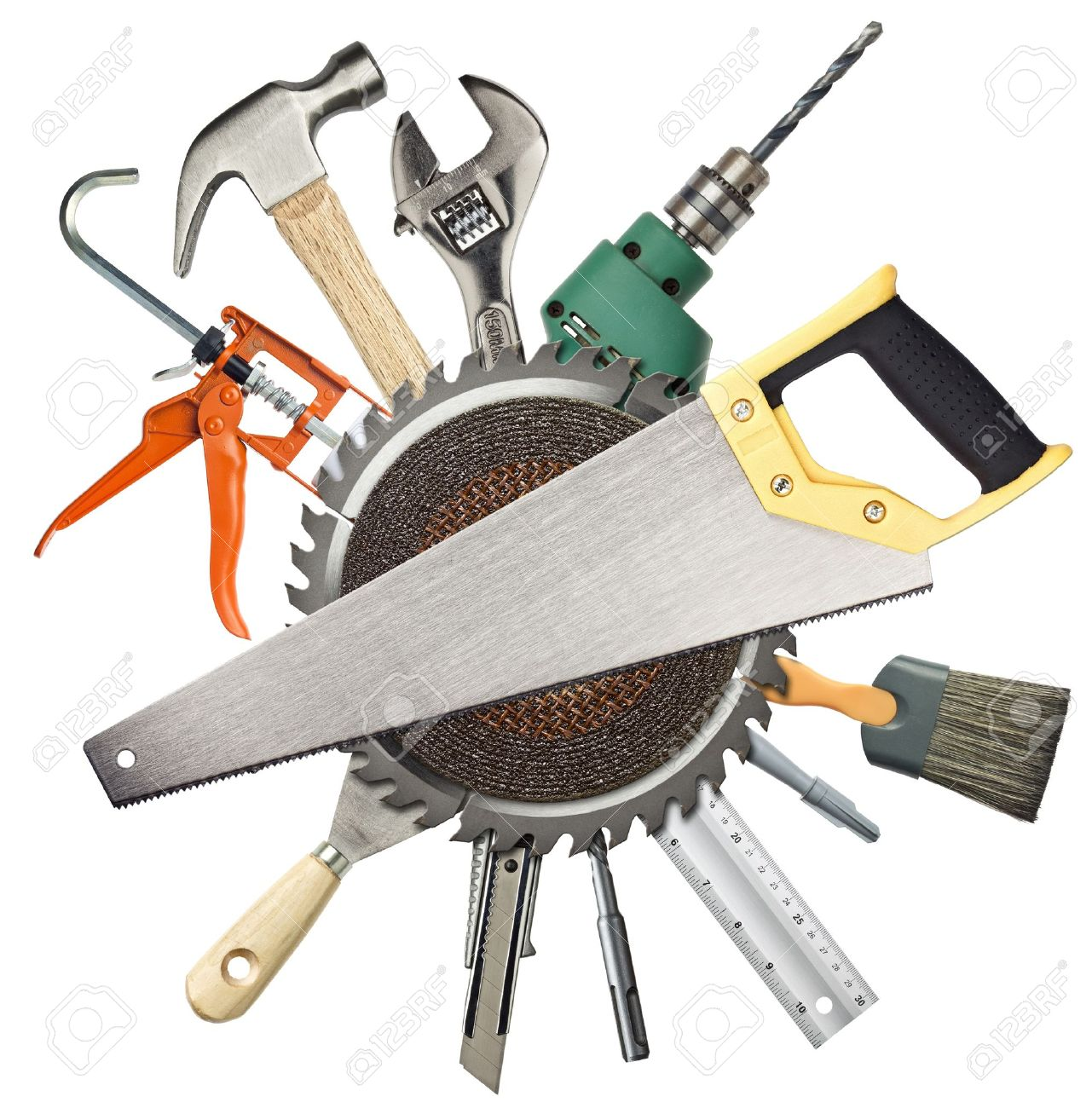Carpentry, construction hardware tools collage Stock Photo - 13013043