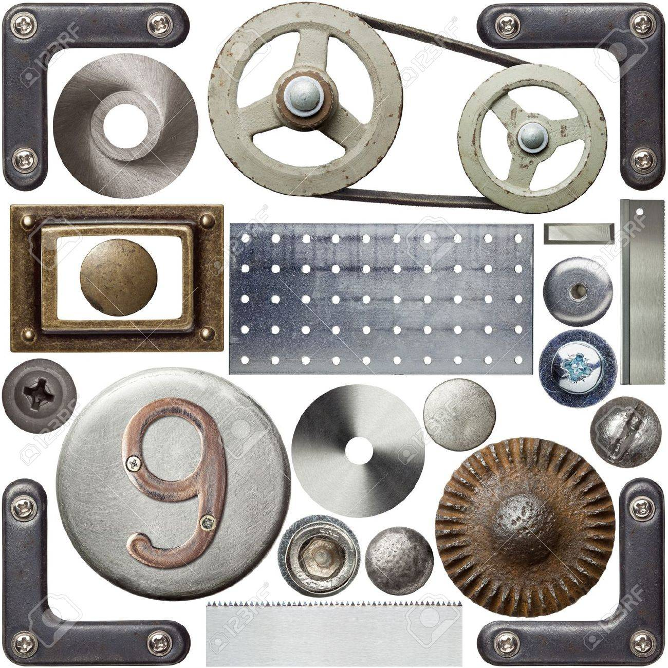 Screw heads, frames and other metal details Stock Photo - 13716896