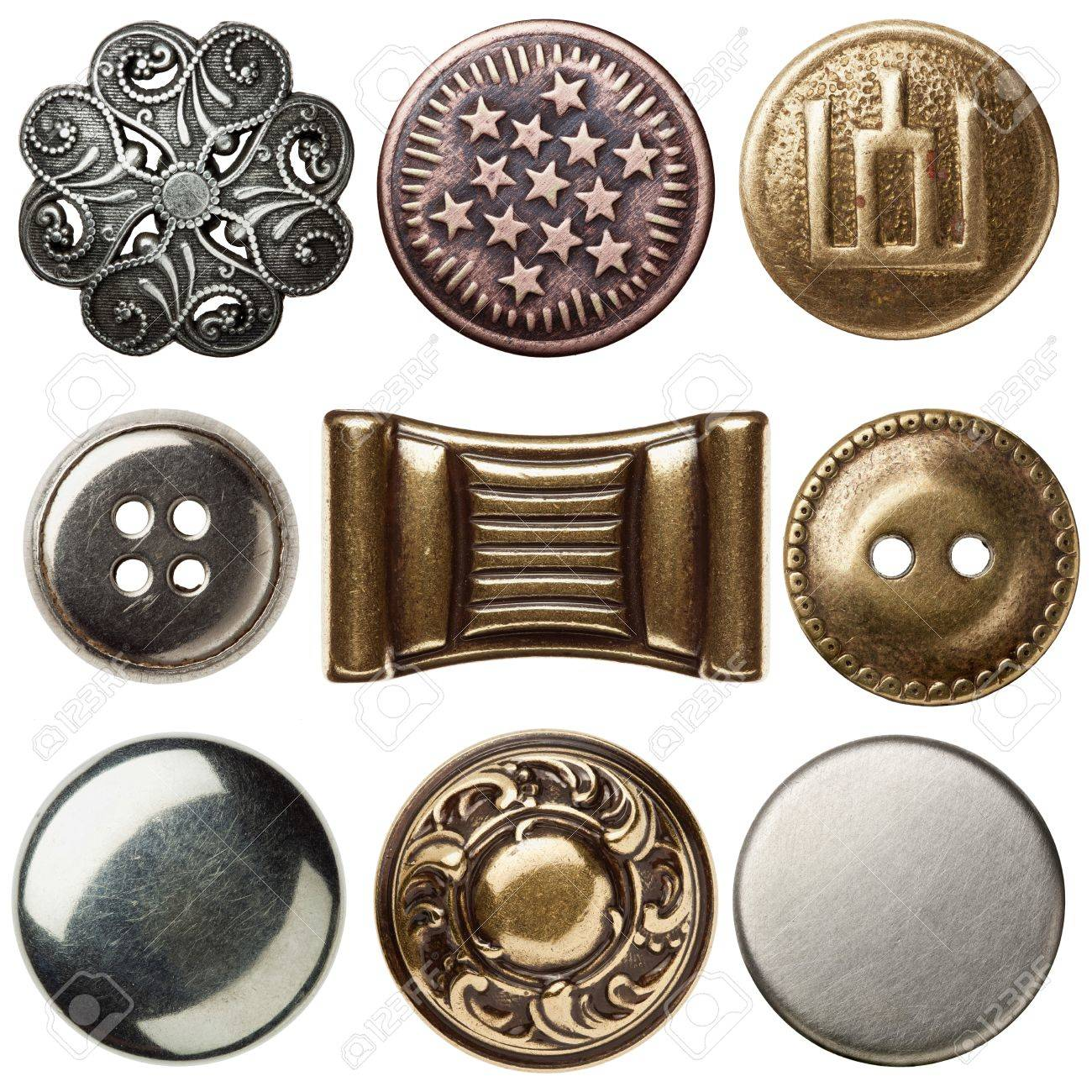 Vintage metal sewing buttons, isolated - 14752767