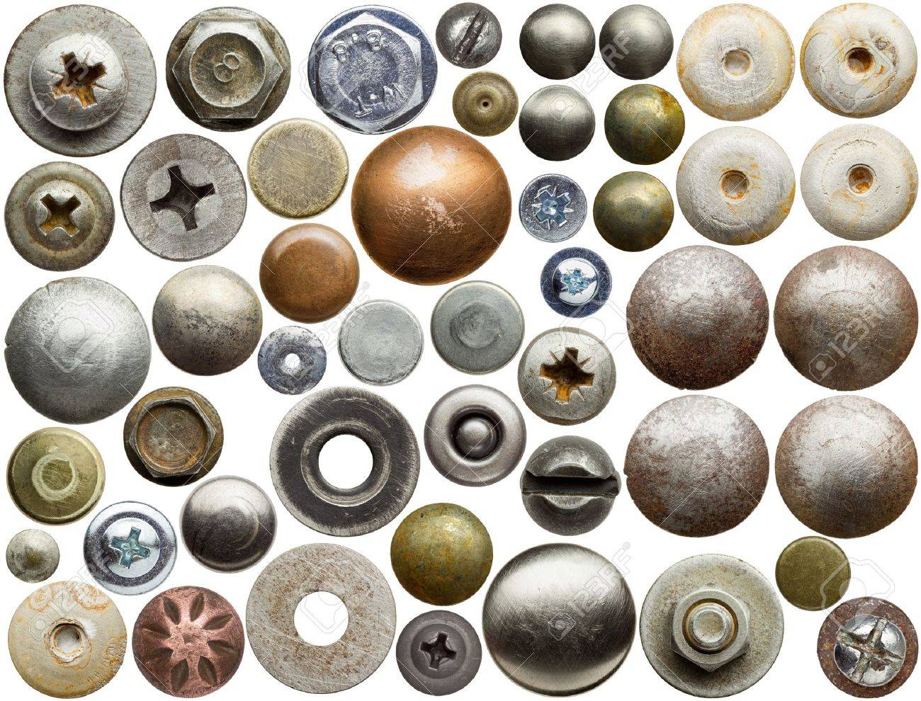 Screw heads, nuts, rivets and other metal details. Stock Photo - 16236002