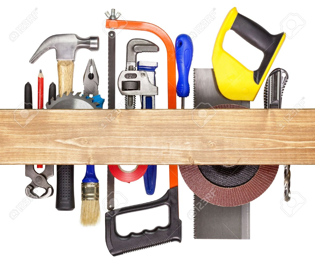 Carpentry, construction hardware tools underneath the wood plank Stock Photo - 16406892