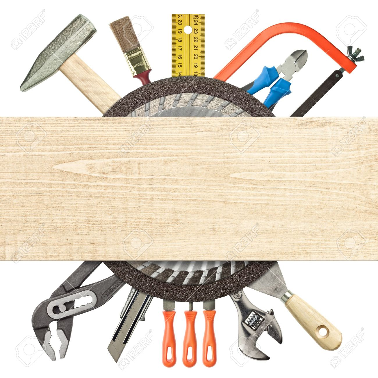 Carpentry, construction collage  Tools underneath wood plank Stock Photo - 18356760