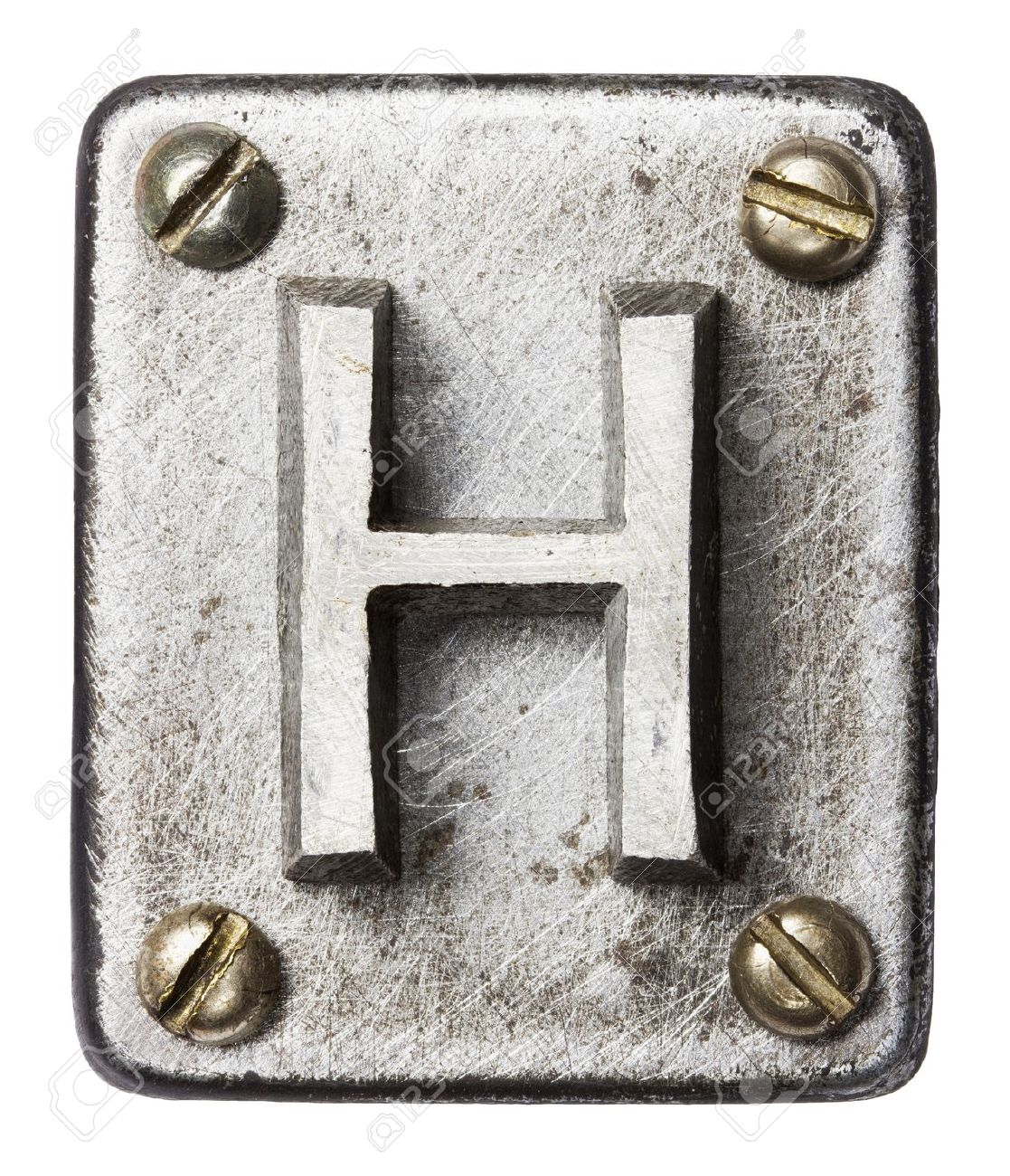 Old metal alphabet letter H Stock Photo - 18532530