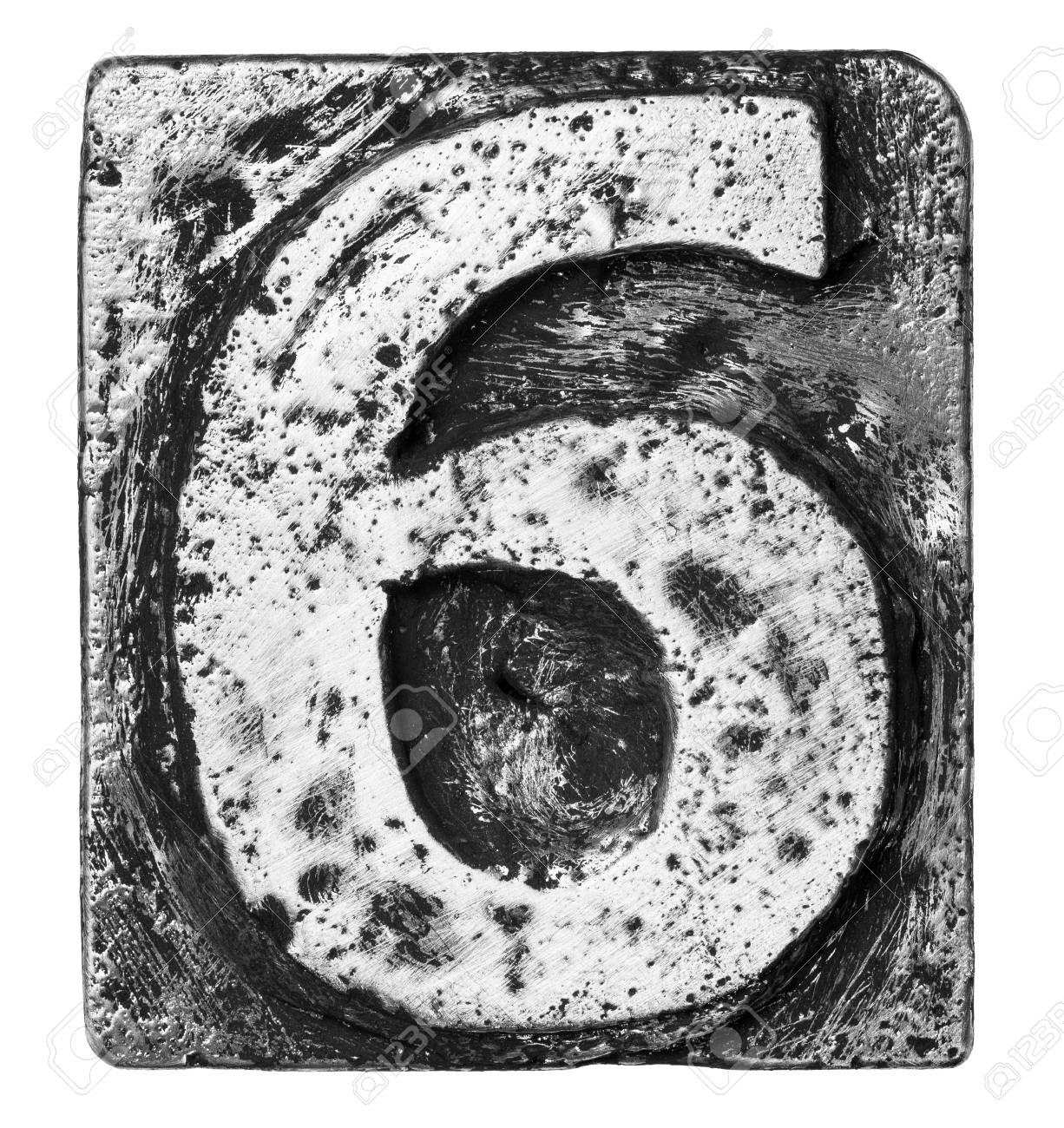 Metal alloy alphabet number 6 Stock Photo - 22107907