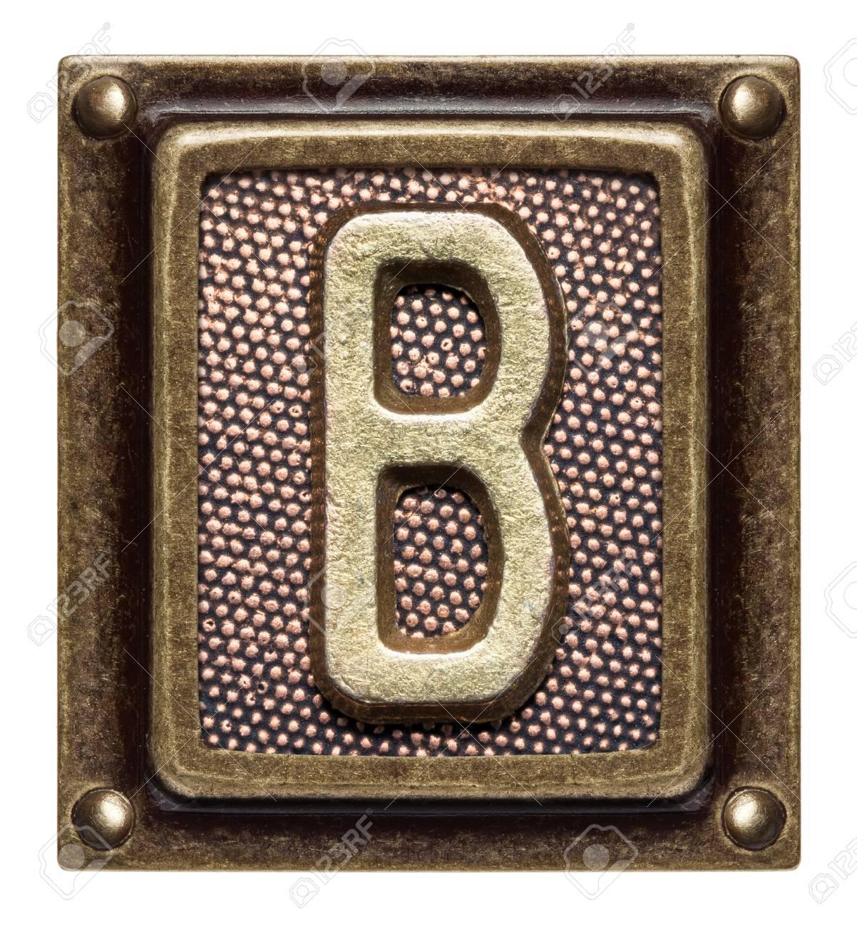 Metal button alphabet letter B Stock Photo - 22557139
