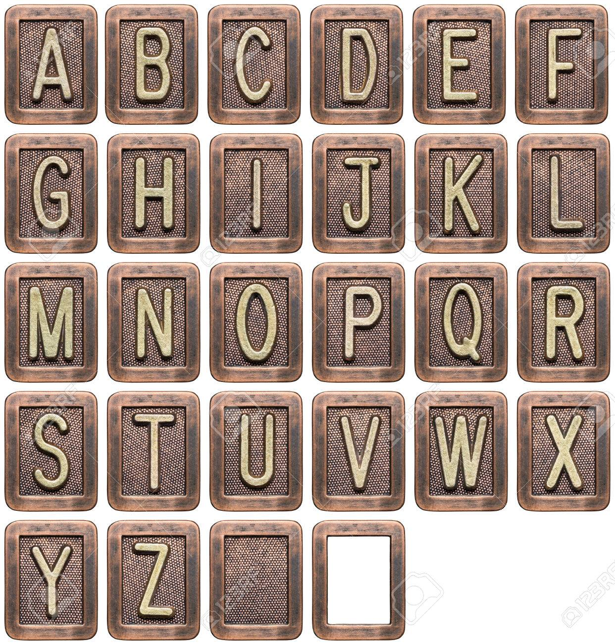 Metal alphabet letters isolated on white Stock Photo - 23335598