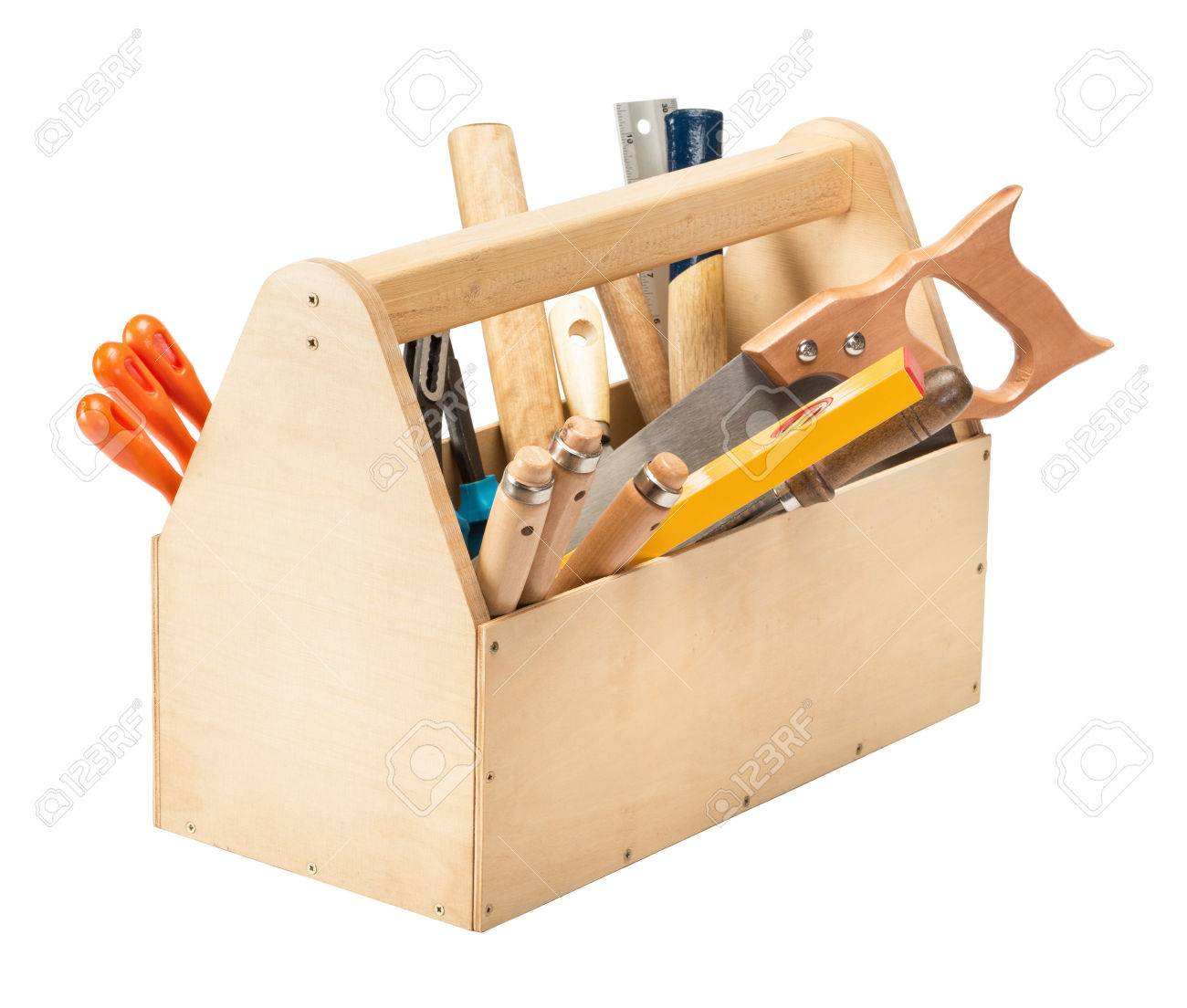 Wooden Toolbox With Tools Isolated On White Stock Photo Picture And