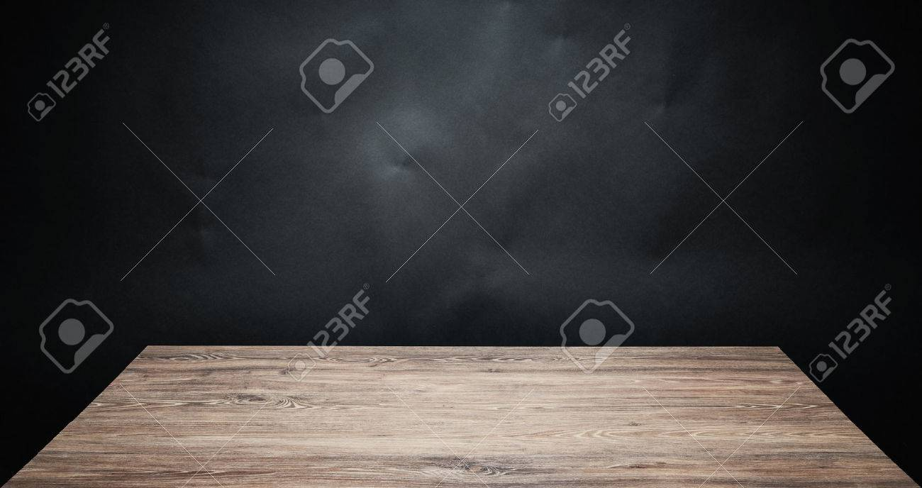 Dark wood table top - Stock Photo Wooden Table Top Against Dark Background