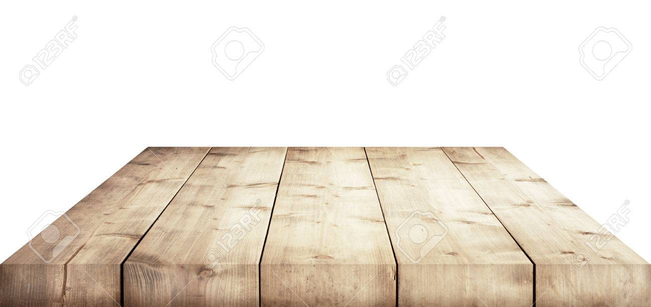 Stock photo wooden table top isolated