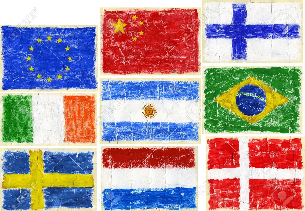 Handmade watercolor brazil flag brasil stock photos freeimages com - Hand Painted Acrylic Flags Including Flags Of Eu China Finland Ireland