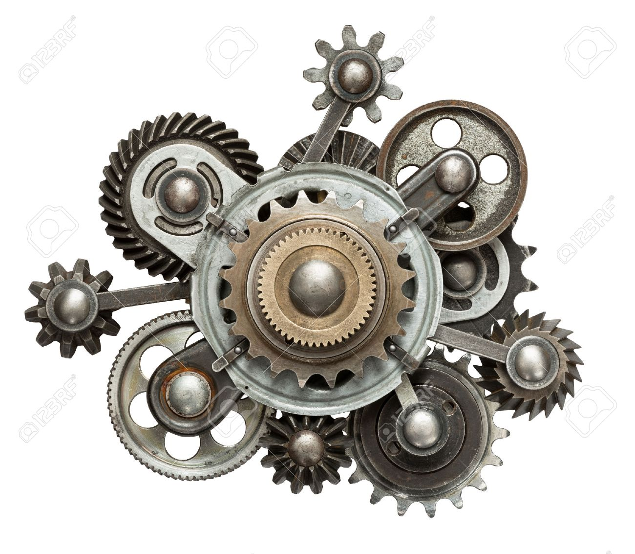 Stylized mechanical collage. Made of metal gears. Stock Photo - 30409661