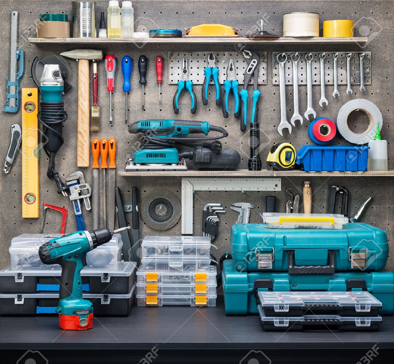Workshop scene.  Tools on the table and board. Stock Photo - 30409695