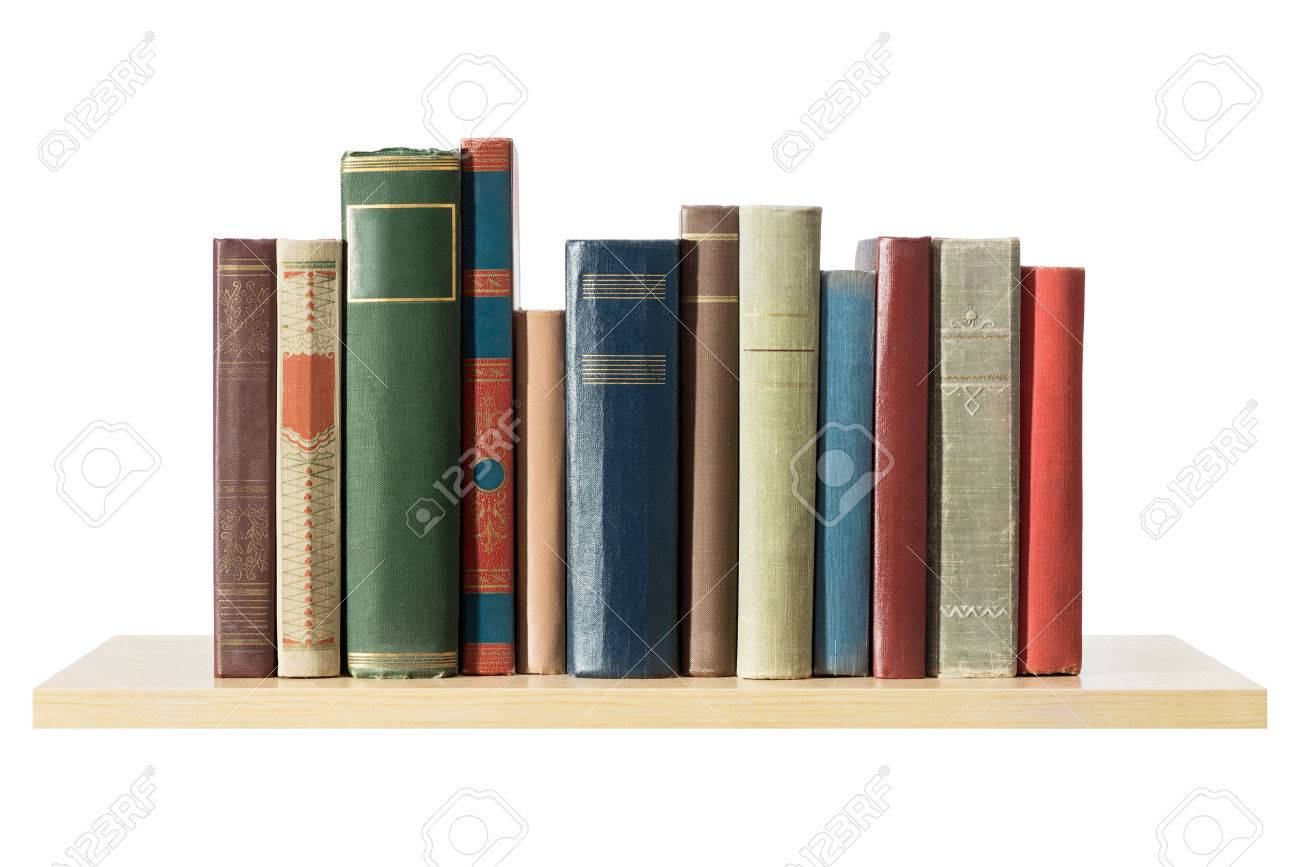 Books on the shelf, isolated. Stock Photo - 30409699