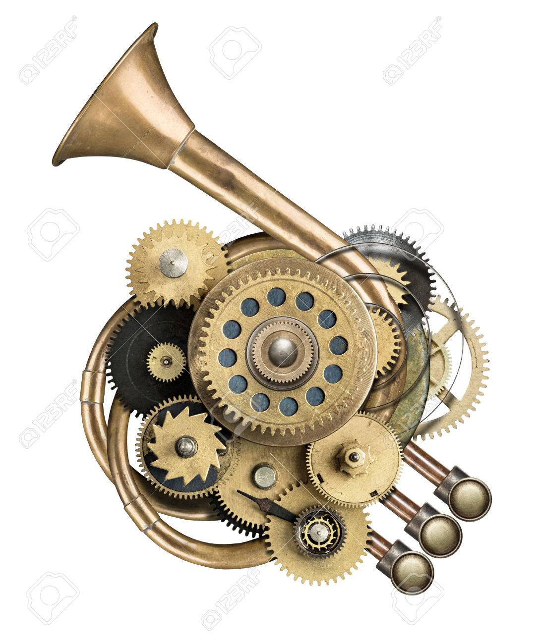 Stylized metal collage of mechanical device. Stock Photo - 31206948