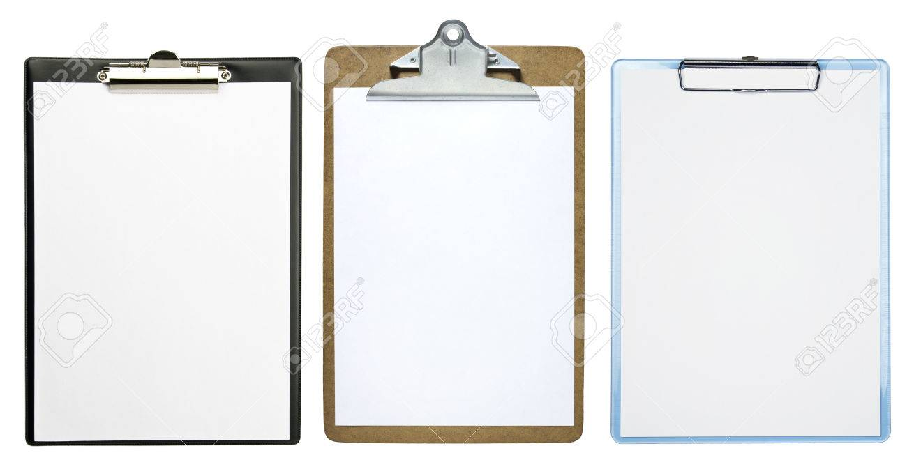Clipboards with a blank sheet of paper isolated on white background Stock Photo - 32448750
