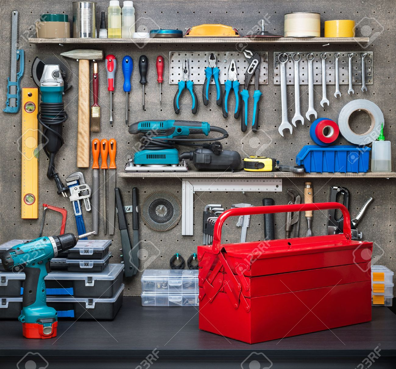 Workshop scene.  Tools on the table and board. Stock Photo - 32448767