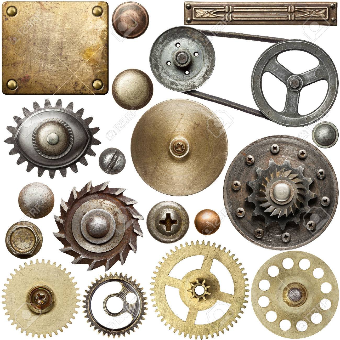 Screw heads, gears, textures and other metal details. Stock Photo - 32448805