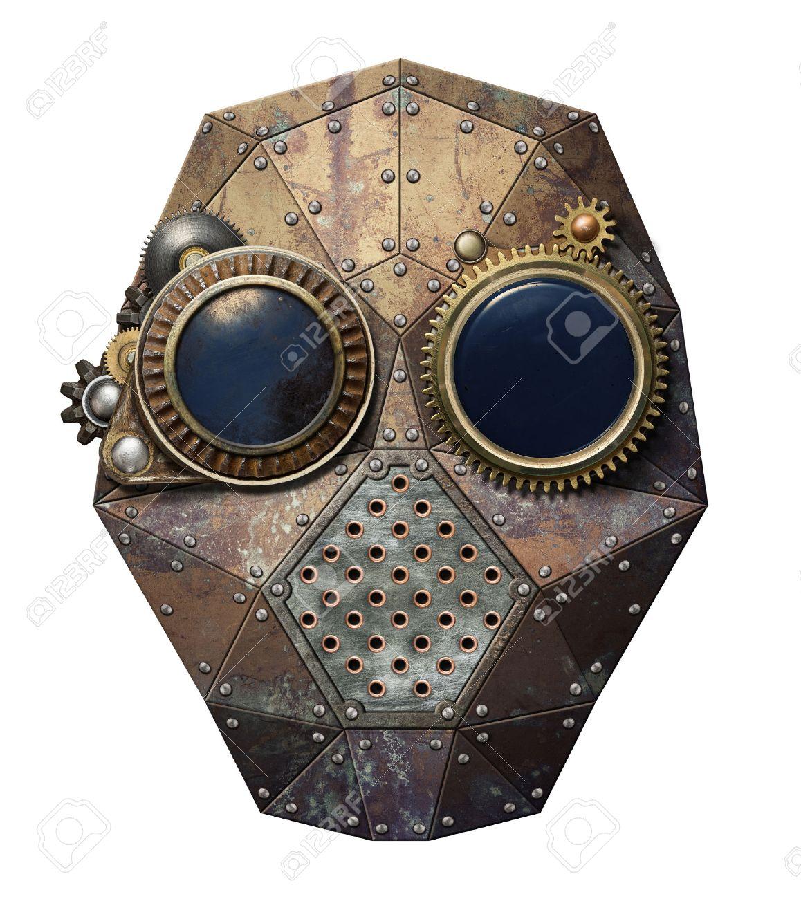 Steampunk metal robot head. Stock Photo - 33207977