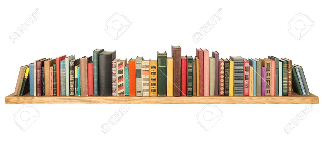 Books on the shelf, isolated. Stock Photo - 34178808