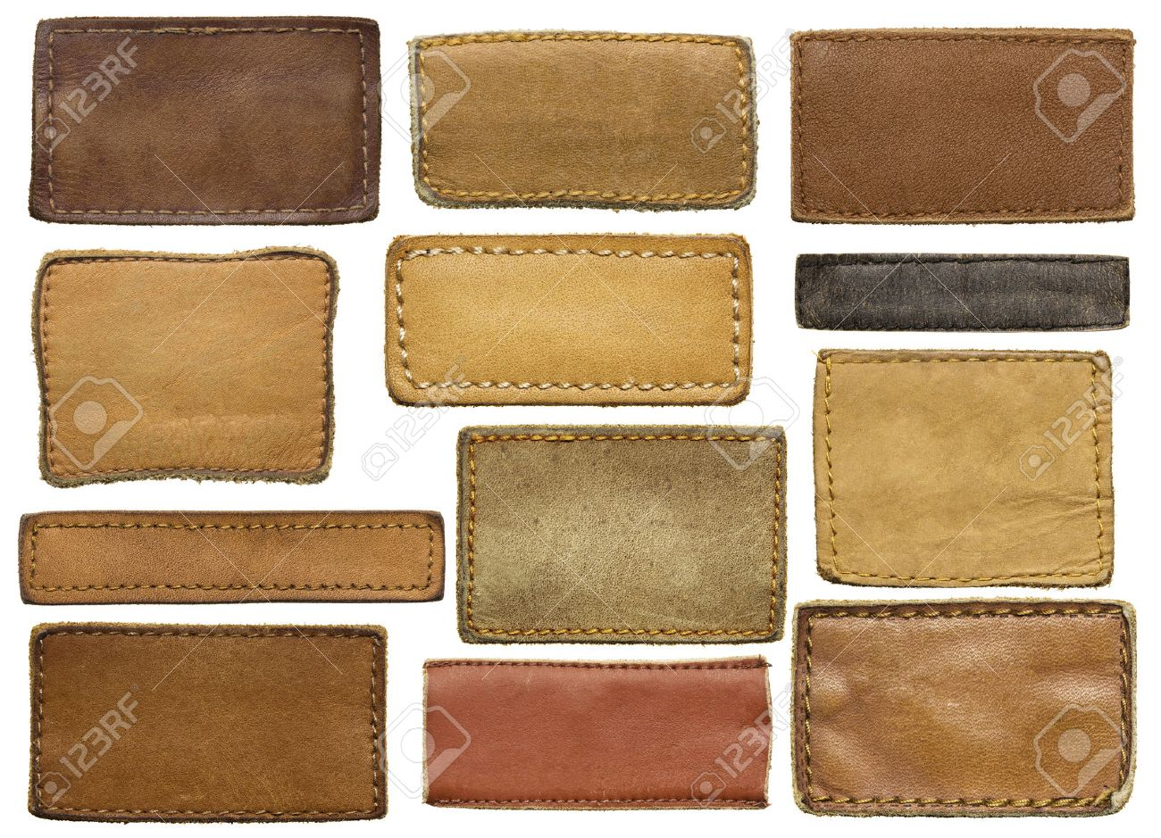 Leather jeans labels, leather tags. Stock Photo - 34178847