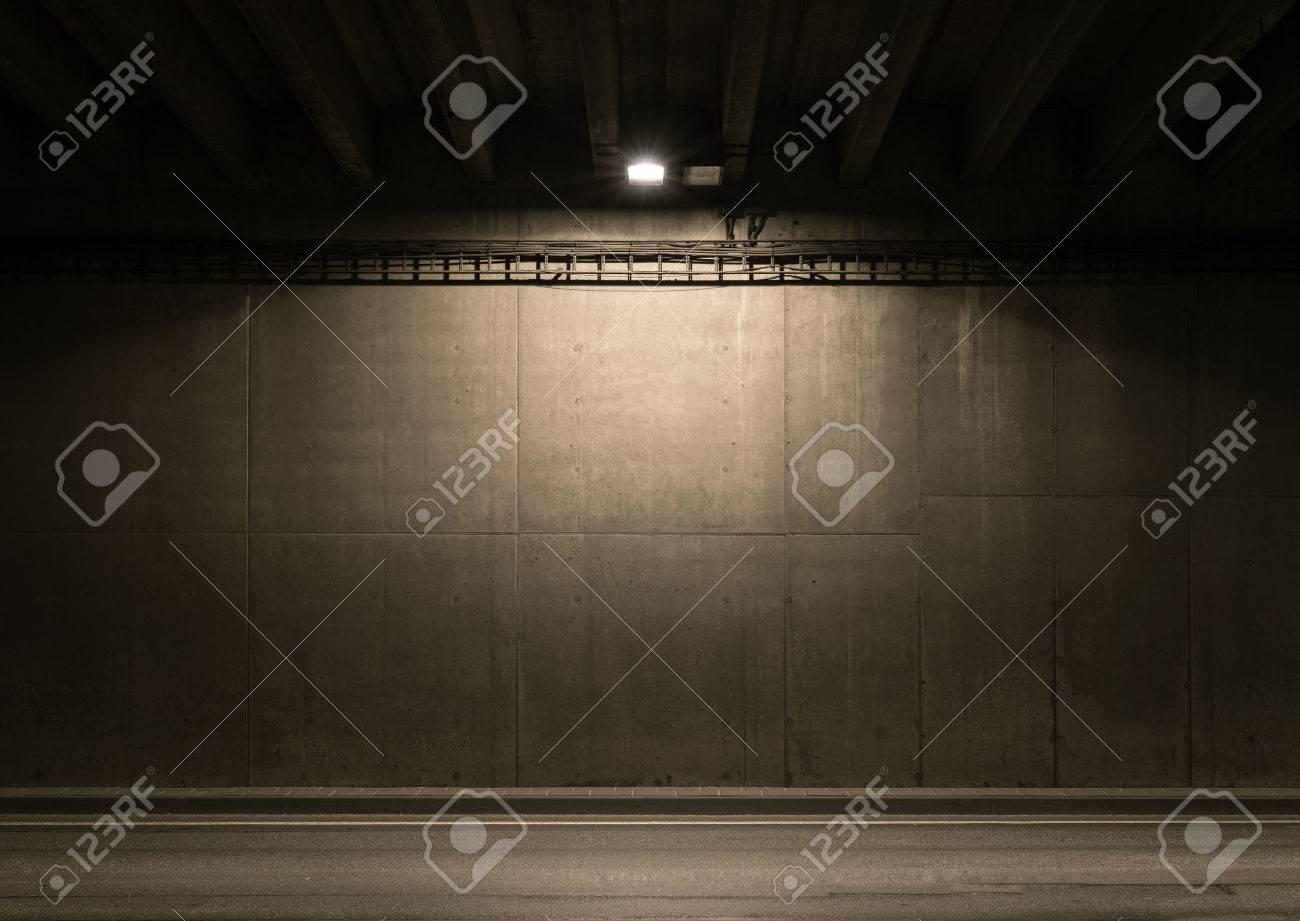 Tunnel road area with spotlight on the wall Stock Photo - 34179002