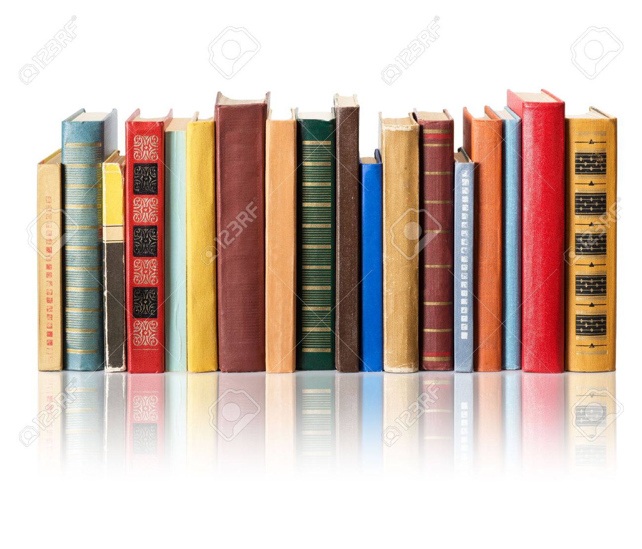 Books on white background with reflection Stock Photo - 35086110