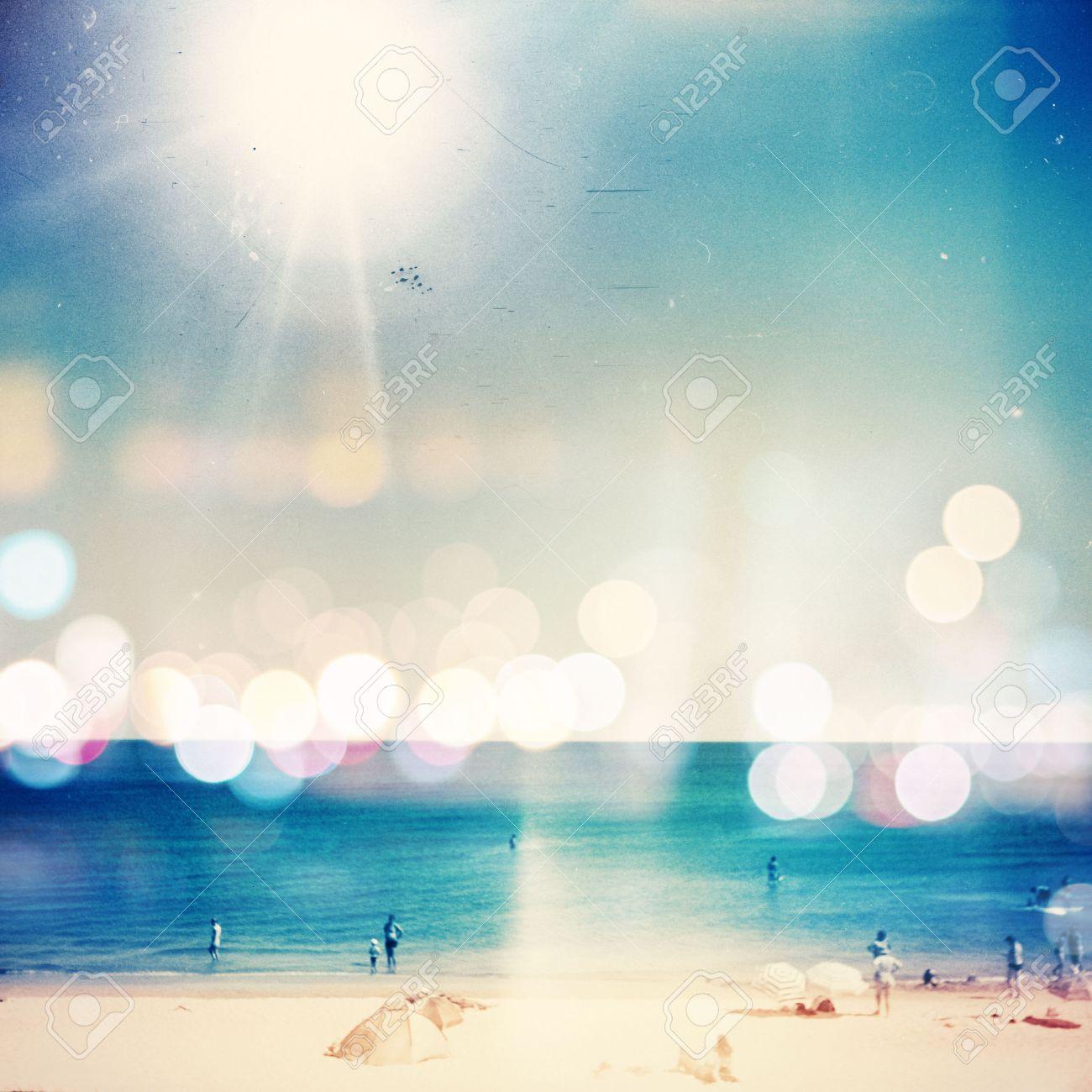 Retro medium format photo. Sunny day on the beach. Grain, blur added as vintage effect. Stock Photo - 35064570