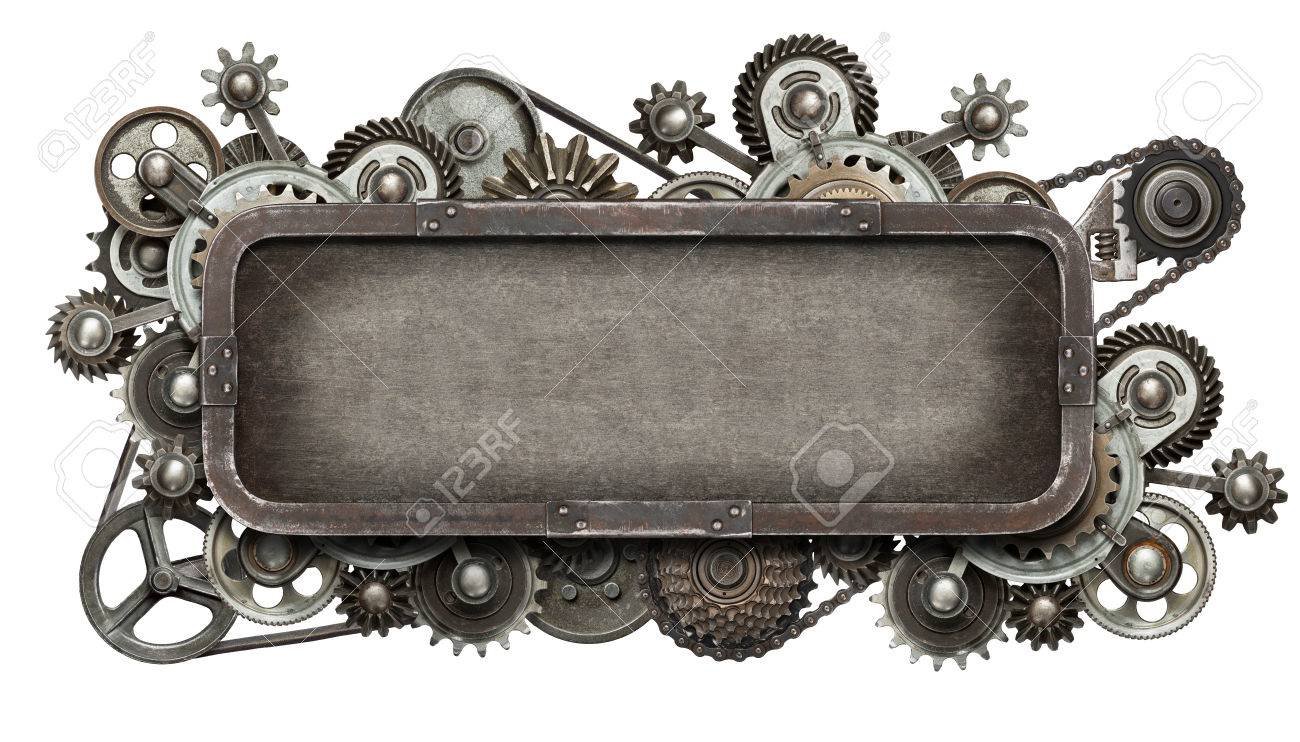 Stylized mechanical collage. Made of metal gears and textures. Stock Photo - 38641700