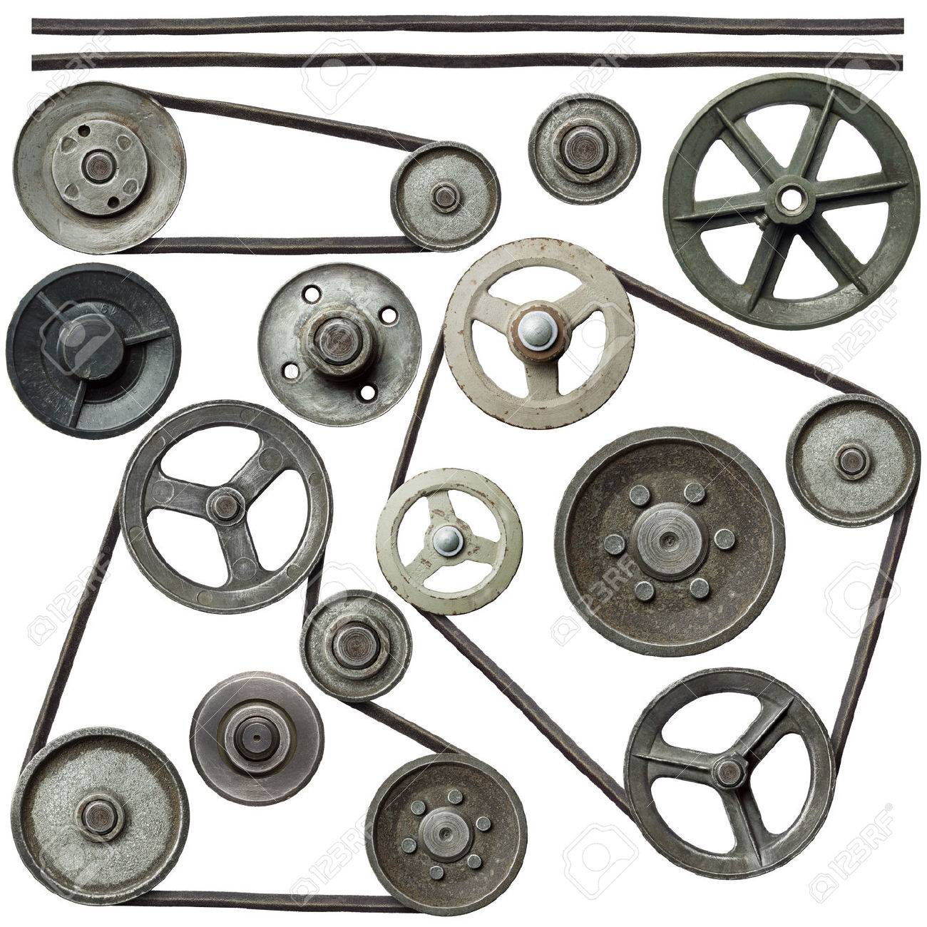Old metal pulleys with belt. Stock Photo - 38641988