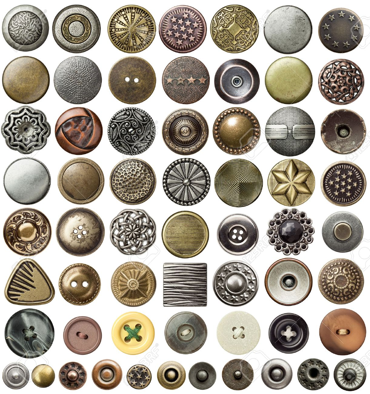 Various sewing buttons and jeans rivets. Stock Photo - 38641987