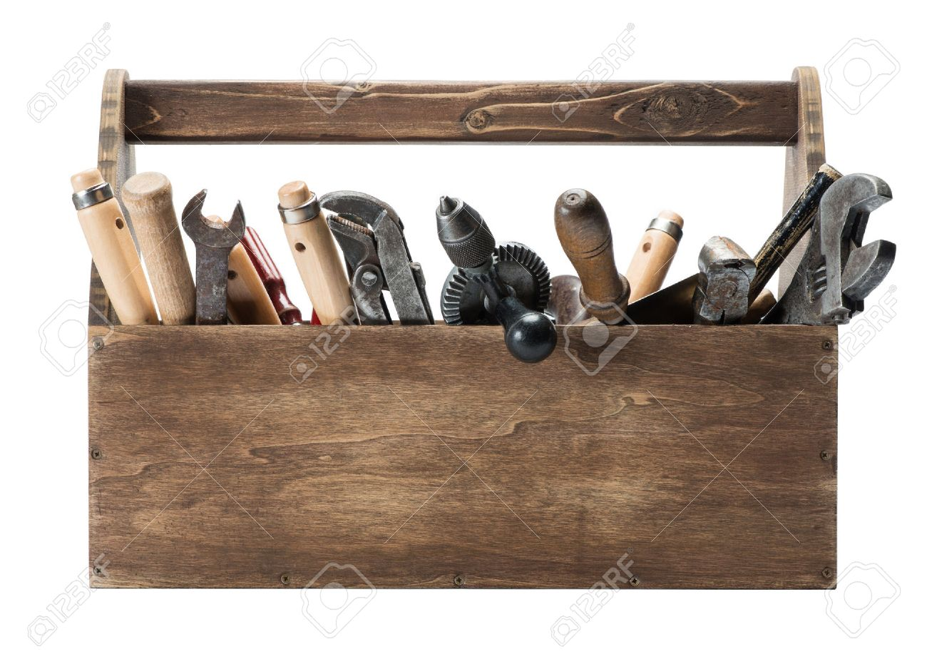 Wooden toolbox with old tools Stock Photo - 40592031