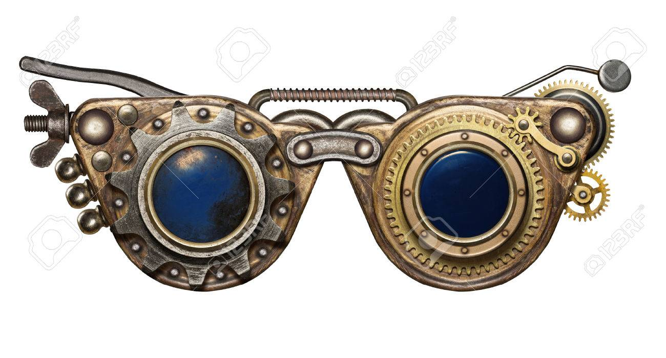 54003b89375 Steampunk goggles. Metal collage. Stock Photo - 40592756