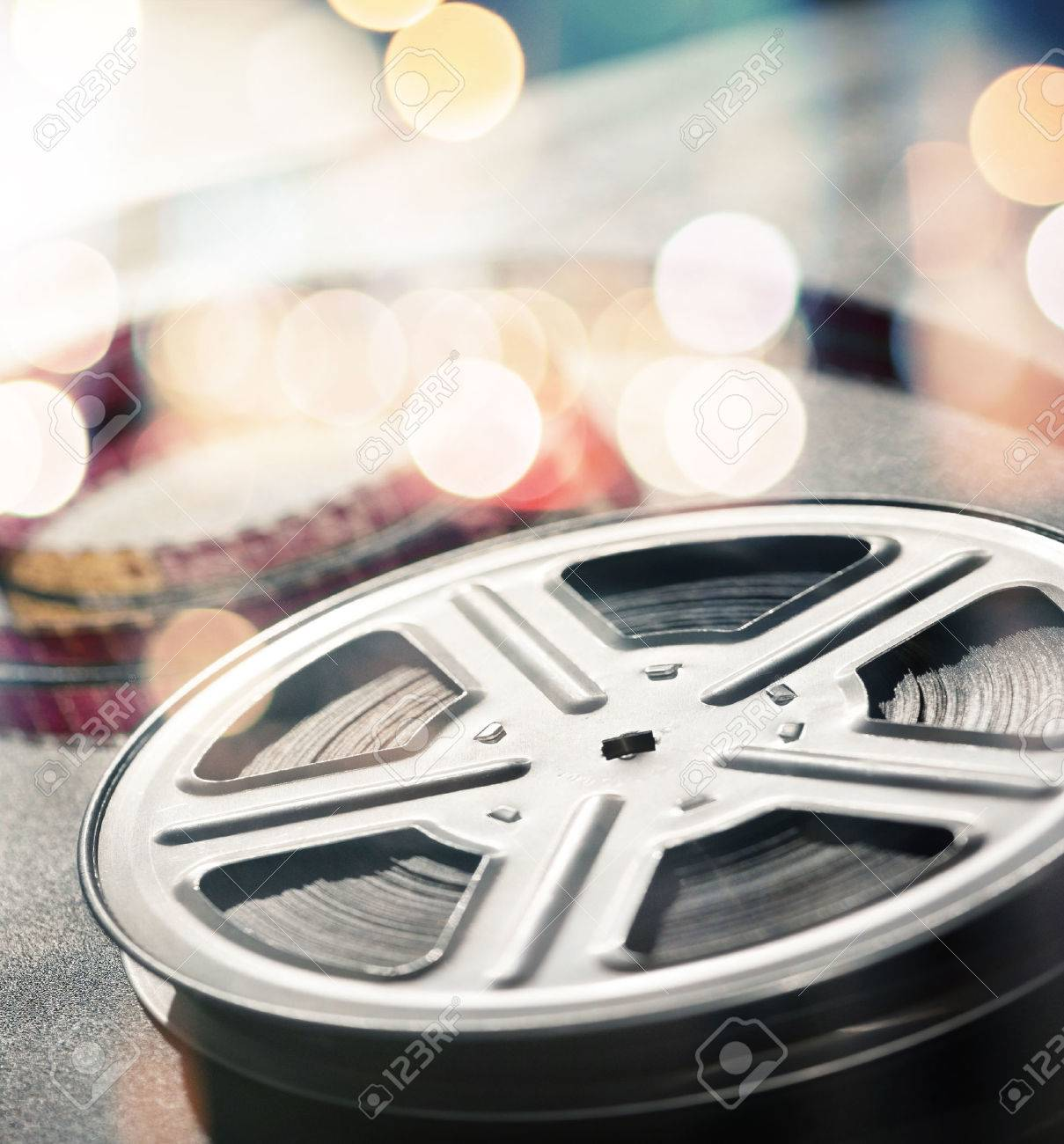 Motion picture film reel on the table Stock Photo - 40564512