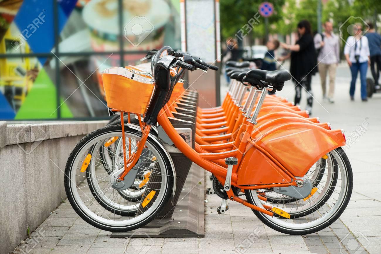 Orange city bikes for rent Stock Photo - 42137665