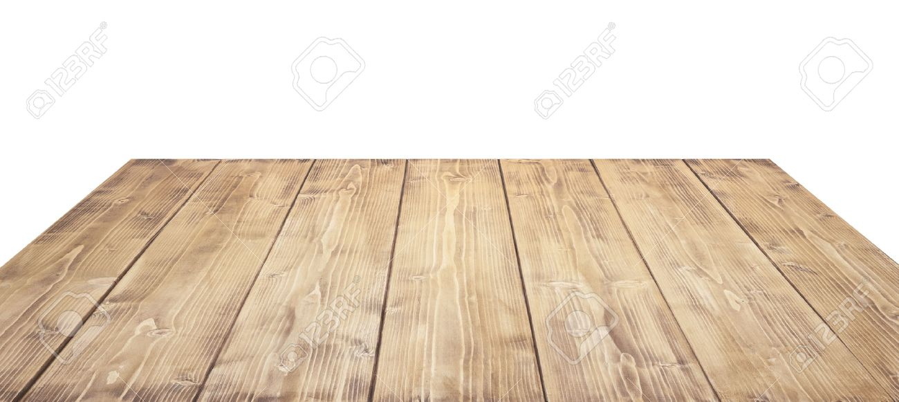 Stock Photo Wooden Table Top Isolated On White Background