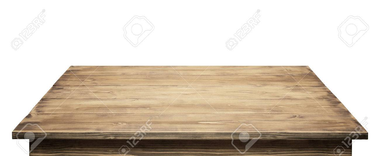Wooden table top isolated on white background. Stock Photo - 42104139