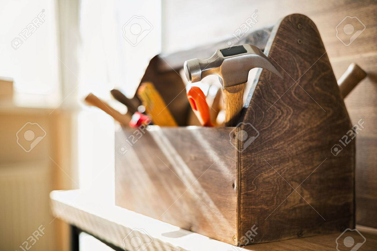 Wooden toolbox on the table Stock Photo - 44384513